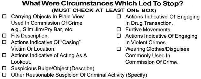 Detail view of the UF-250 form used in 2011 by the NYPD to document why someone was stopped.