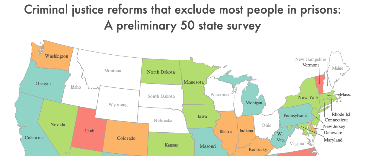Preview of map showing where states have passed criminal justice reforms that exclude people convicted of violence.