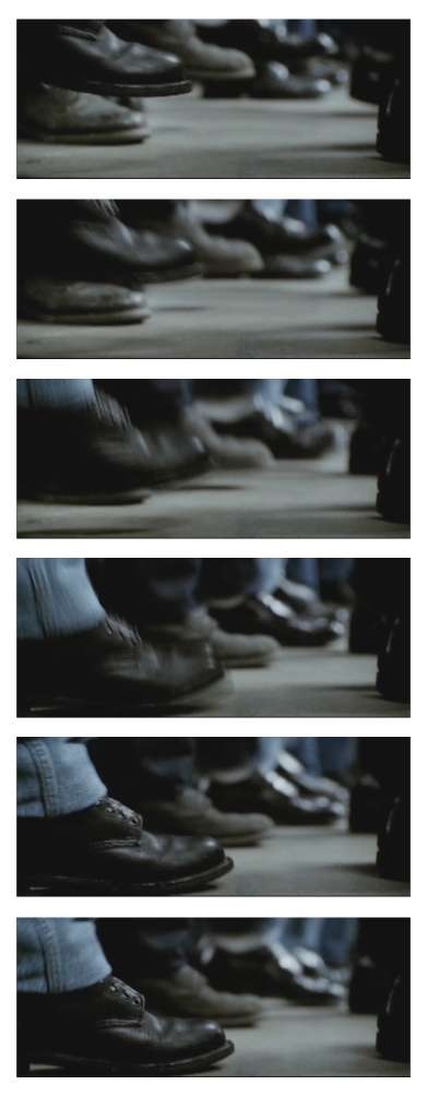Frames from Walk the Line showing prisoners stomping their feet along with the music. Note that the men aren't allowed to have shoelaces.