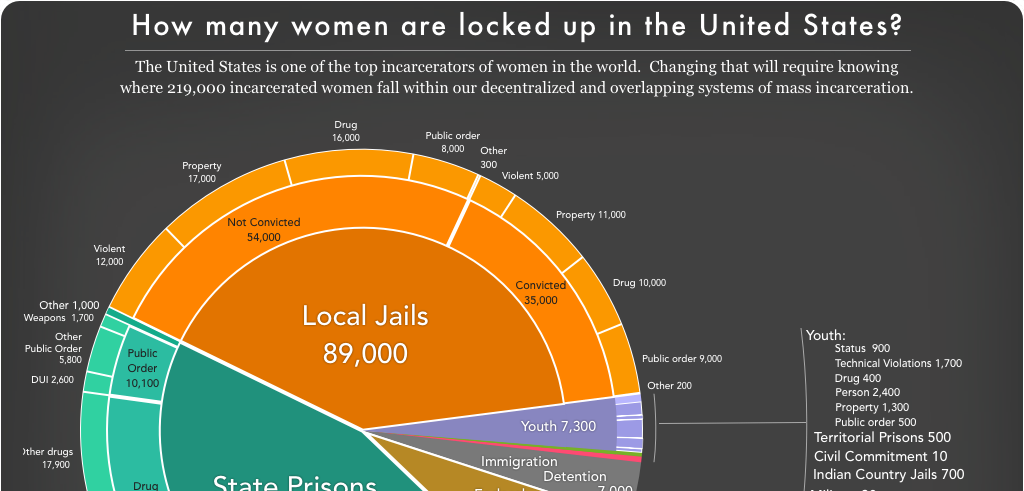 Preview of pie chart showing how many women are locked up on a given day in the U.S. by facility and offense type.