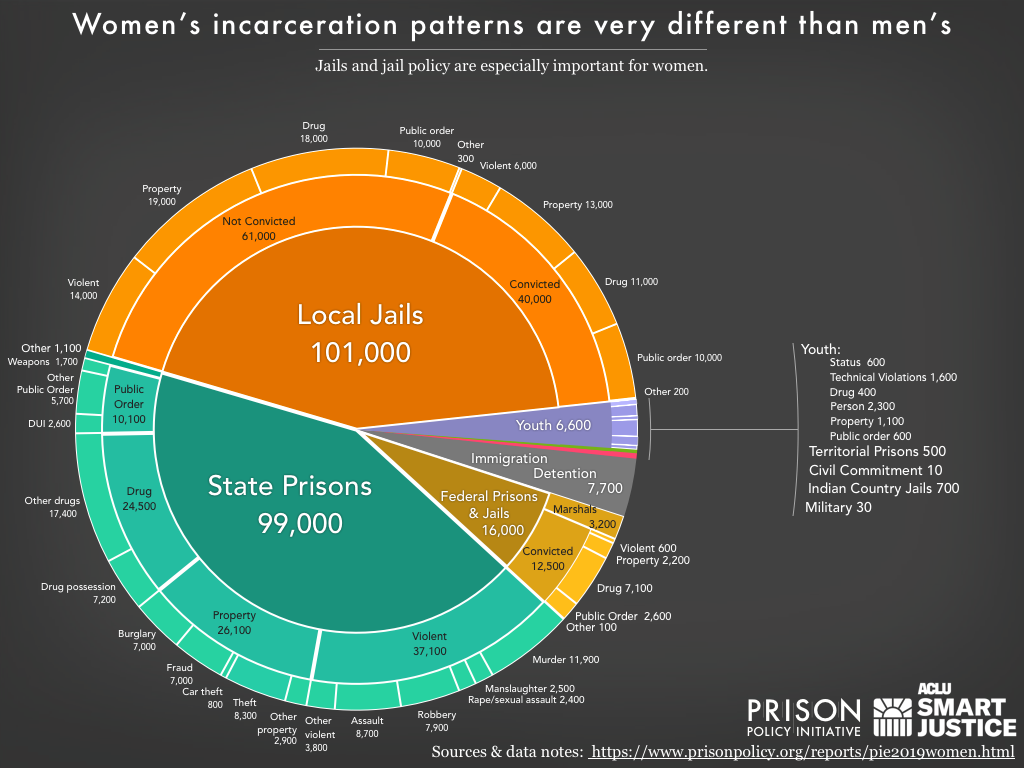 Pie chart showing the number of women locked up on a given day in the United States by facility type and the underlying offense using the newest data available in 2010