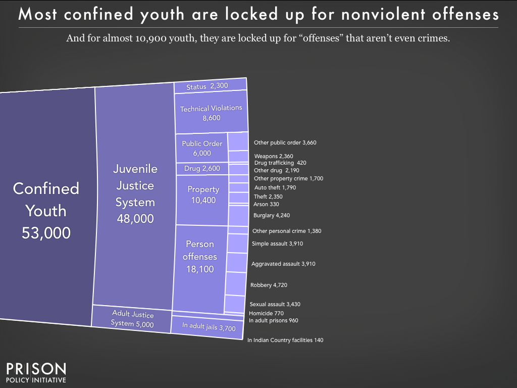 Graph showing the number of youth incarcerated in the United States by offense and whether or not they are incarcerated with adults.