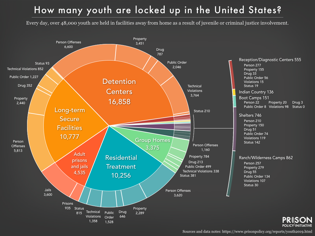 Pie chart showing the number of youth confined in adult prisons and jails, Indian country facilities, and eight types of juvenile facilities, broken down by offense type.