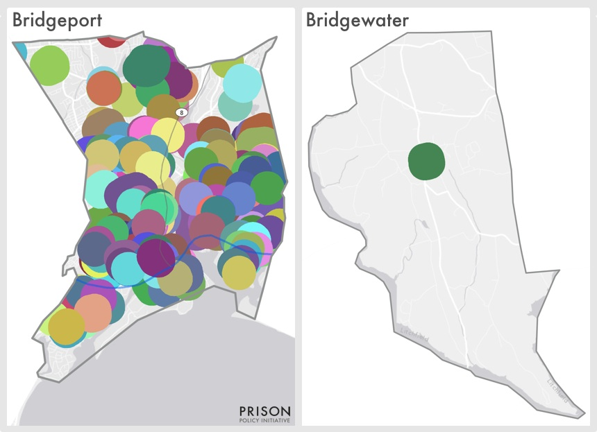 sentencing enhancement zones cover 92% of Bridgeport, CT's residents while they only cover 8% of more rural Bridgewater, CT