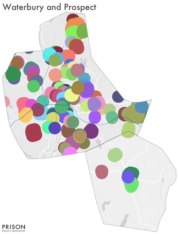 Map showing sentencing enhancement zones covering most of Waterbury, CT but few in Prospect, CT
